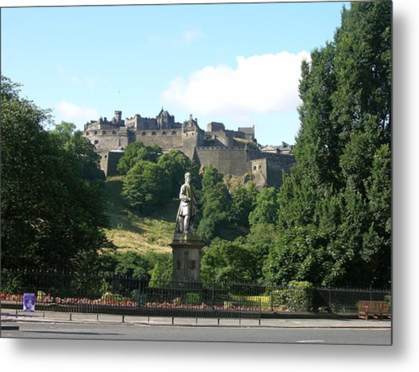 Allan Ramsay Statue And Edinburgh Castle Metal Print