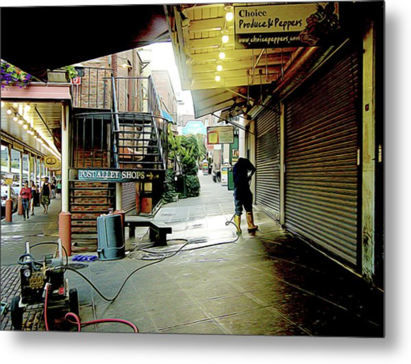 Alley Market End Of Day Metal Print