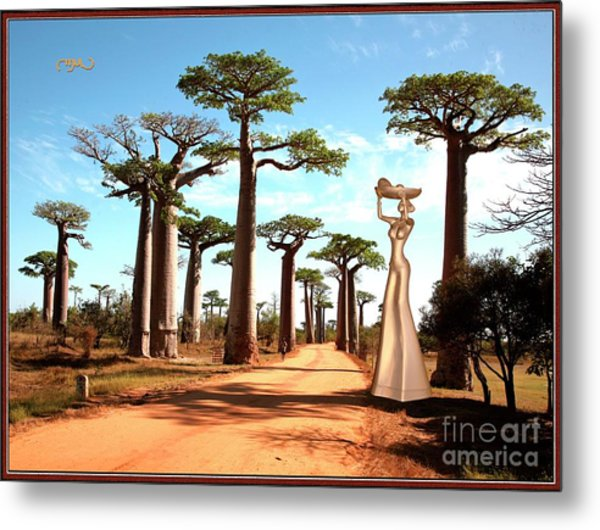 alley of baobabs and a statue of a  Girl Metal Print by Pemaro
