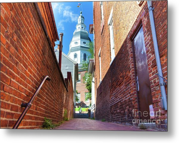 Alley View Of Maryland State House  Metal Print