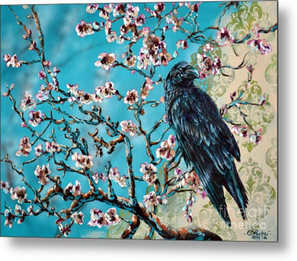 Almond Branch And Raven Metal Print