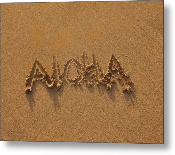 Aloha In The Sand Metal Print