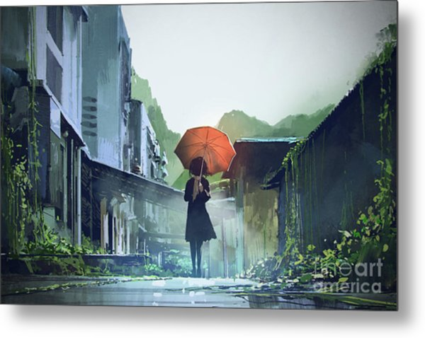 Metal Print featuring the painting Alone In The Abandoned Town by Tithi Luadthong