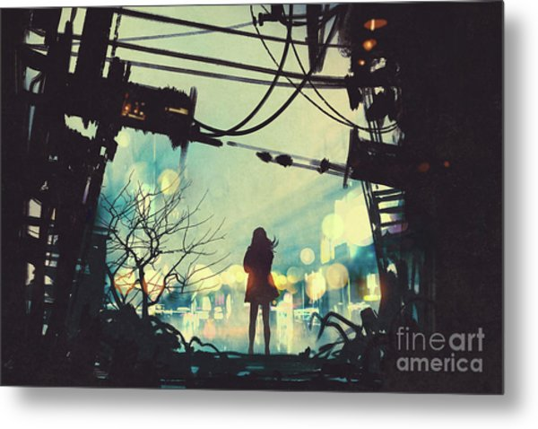 Metal Print featuring the painting Alone In The Abandoned Town#2 by Tithi Luadthong