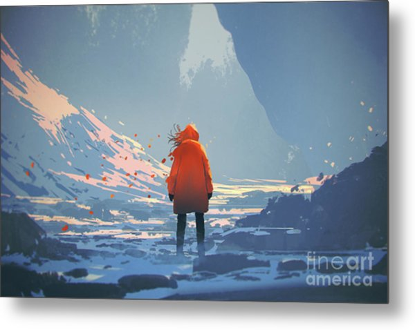 Metal Print featuring the painting Alone In Winter by Tithi Luadthong