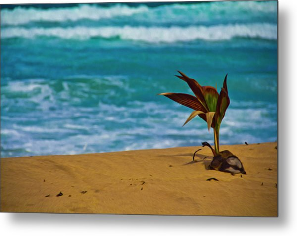 Alone On The Beach Metal Print