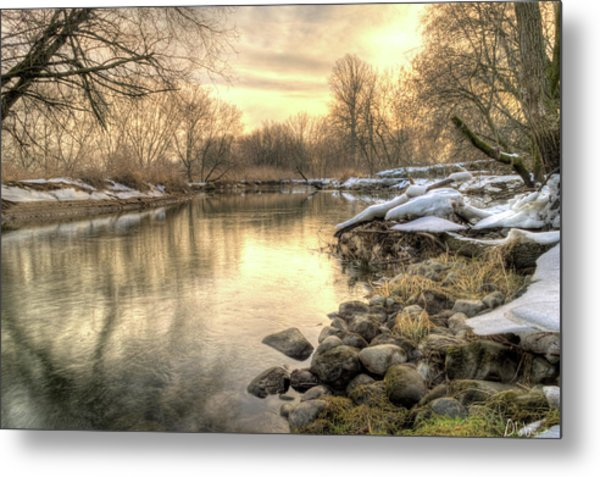 Along The Thames River Signed Metal Print