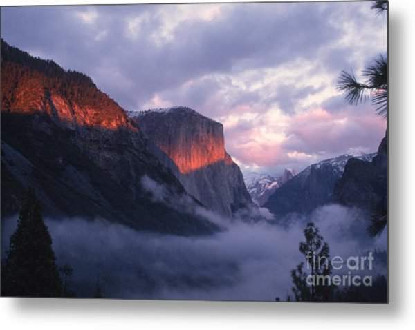 Alpen Glow On El Capitan Metal Print by Stan and Anne Foster