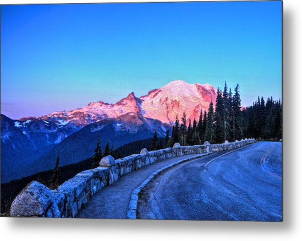 Alpenglow At Mt. Rainier Metal Print
