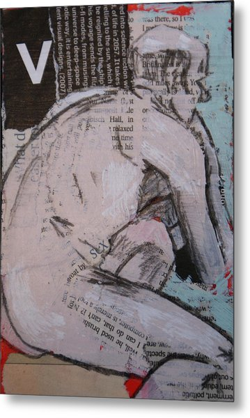 Alphabet Nude V Metal Print by Joanne Claxton