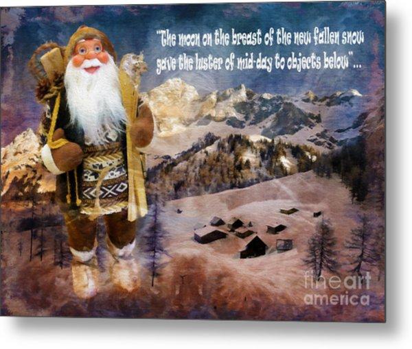Alpine Santa Card 2015 Metal Print