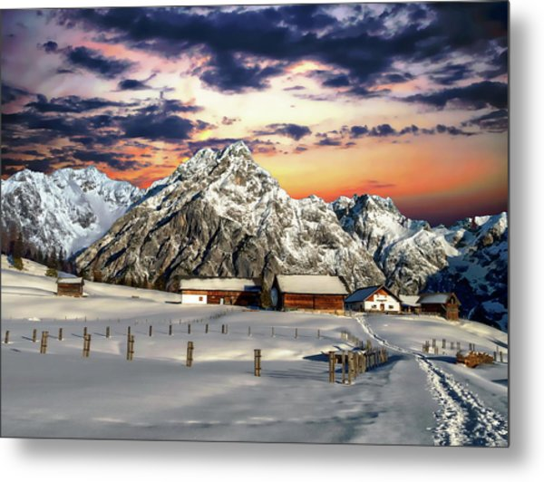 Alpine Winter Scene Metal Print