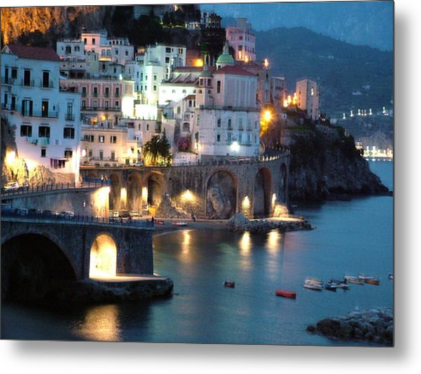 Amalfi Coast At Night Metal Print