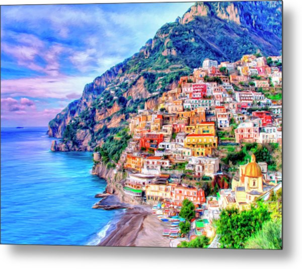 Amalfi Coast At Positano Metal Print