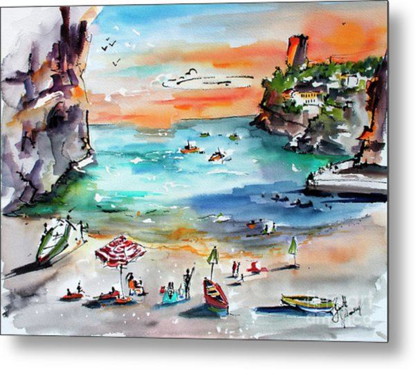 Metal Print featuring the painting Amalfi Coast Italy Watercolors by Ginette Callaway