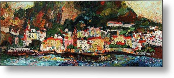 Amalfi Italy Panorama Impressionist Oil Painting Metal Print