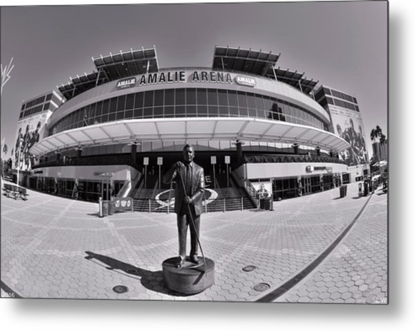 Metal Print featuring the photograph Amalie Arena Black And White by Lisa Wooten