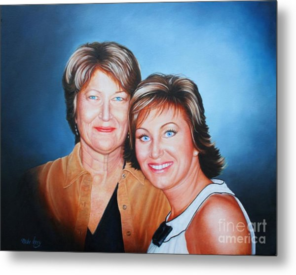 Metal Print featuring the painting Amanda And Mom by Mike Ivey