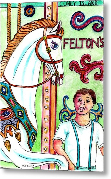 Amazed At The Merry-go-round At Feltons In Coney Island Metal Print