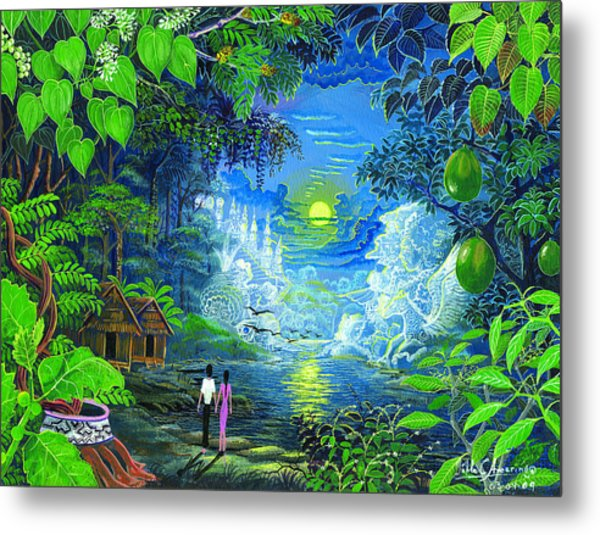 Metal Print featuring the painting Amazonica Romantica by Pablo Amaringo