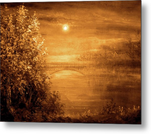 Amber Bridge Metal Print by Ann Marie Bone