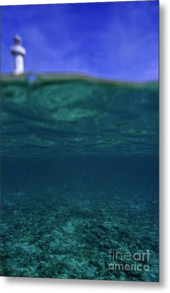 Amedee Lighthouse Island Seen From Underwater Metal Print by Sami Sarkis