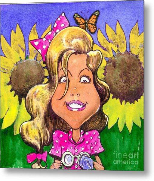Amelia In Sunflowers Metal Print by Robert  Myers