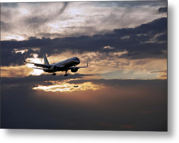 American Aircraft Landing At The Twilight. Miami. Fl. Usa Metal Print