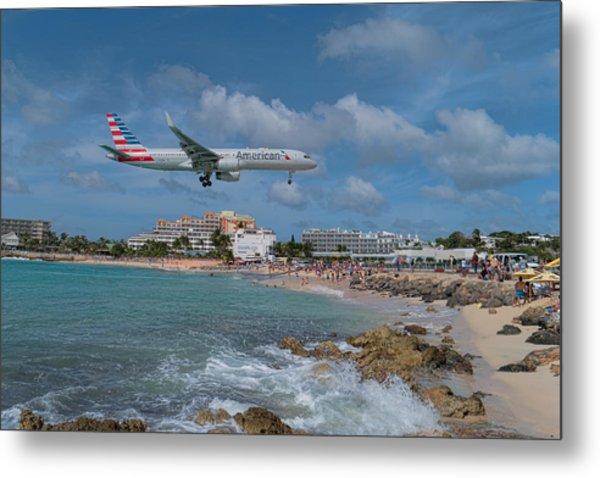 American Airlines Landing At St. Maarten Airport Metal Print