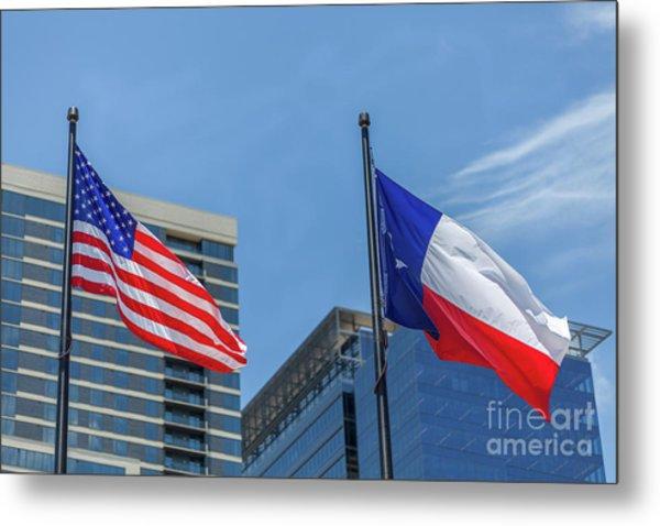 American And Texas Flag On Top Of The Pole Metal Print