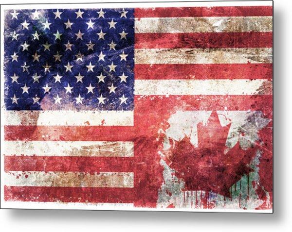American Canadian Tattered Flag Metal Print