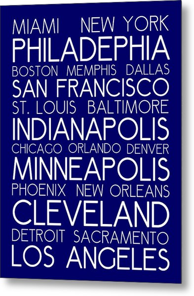 American Cities In Bus Roll Destination Map Style Poster - Blue Metal Print