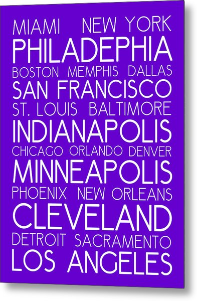 American Cities In Bus Roll Destination Map Style Poster - Purple Metal Print