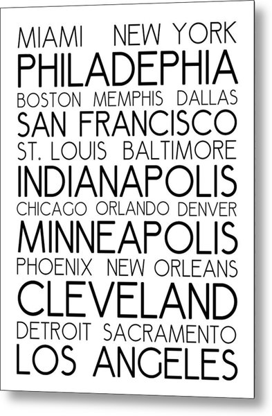 American Cities In Bus Roll Destination Map Style Poster - White Metal Print