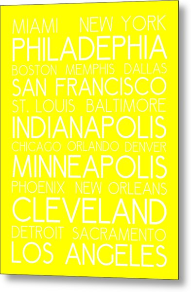 American Cities In Bus Roll Destination Map Style Poster - Yellow Metal Print