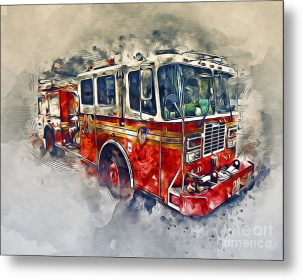American Fire Truck Metal Print