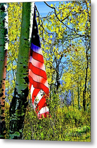 American Flag A Veteran Hunters Homage Metal Print