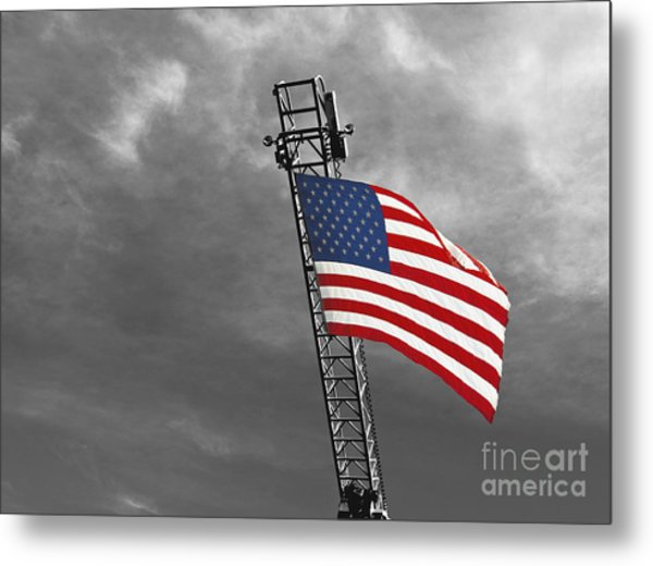 American Flag On A Fire Truck Ladder Metal Print by Mark Hendrickson