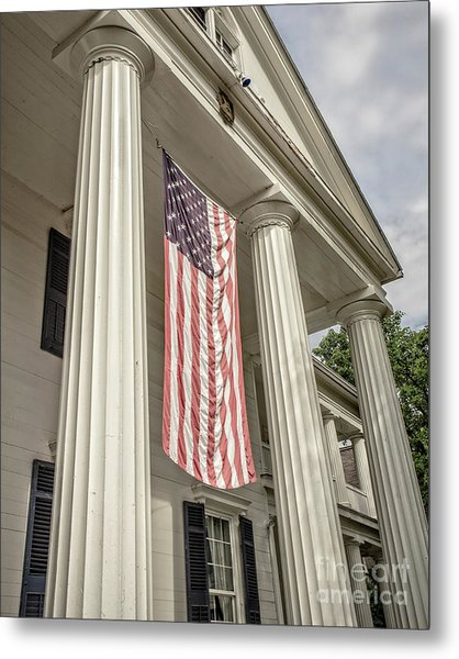 American Flag On Period House Metal Print