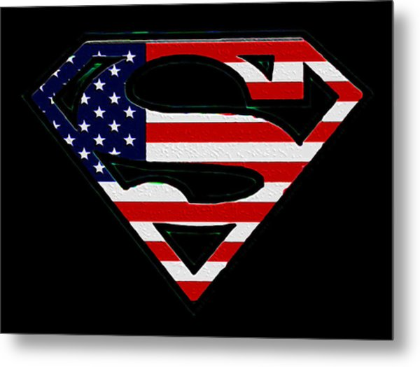 American Flag Superman Shield Metal Print
