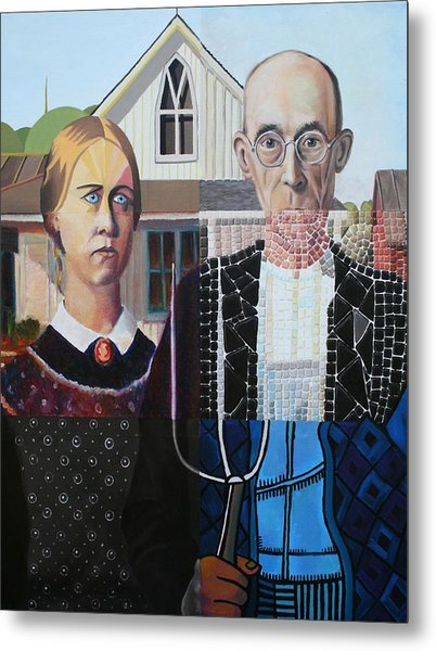 American Gothic After Grant Wood In Six Styles Metal Print