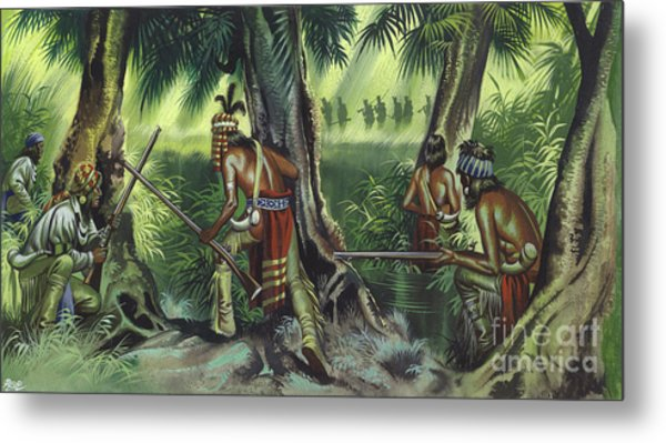 American Native Indians Tracking British Soldiers Metal Print