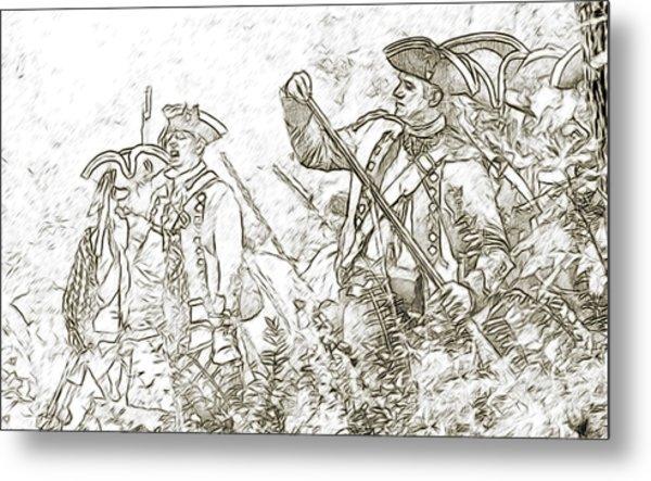 American Revolution Battle Sketch Metal Print by Randy Steele