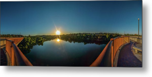 American River At Sunrise - Panorama Metal Print