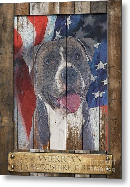 American Staffordshire Terrier Flag Poster 2 Metal Print by Tim Wemple