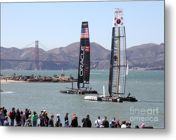 America's Cup Racing Sailboats In The San Francisco Bay - 5d18253 Metal Print