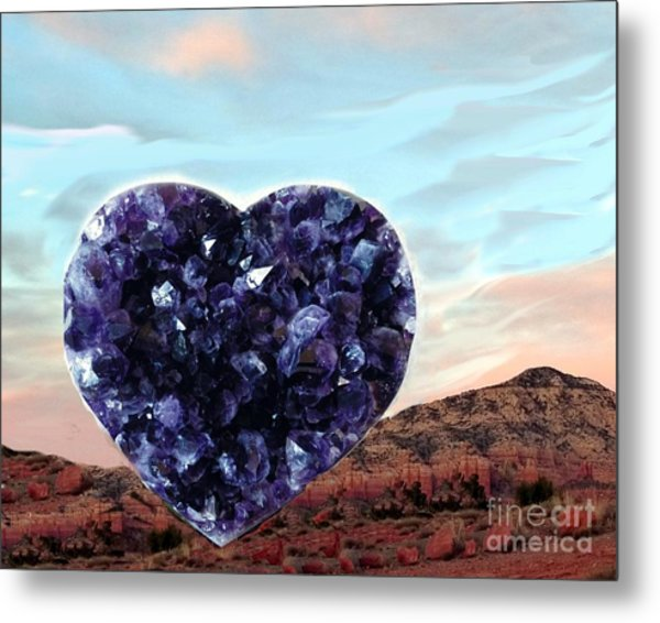 Amethyst Vortex Heart Sedona Metal Print