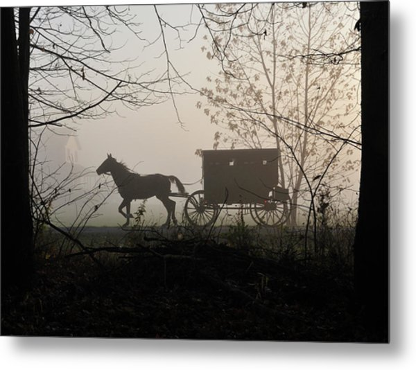 Amish Buggy Foggy Sunday Metal Print