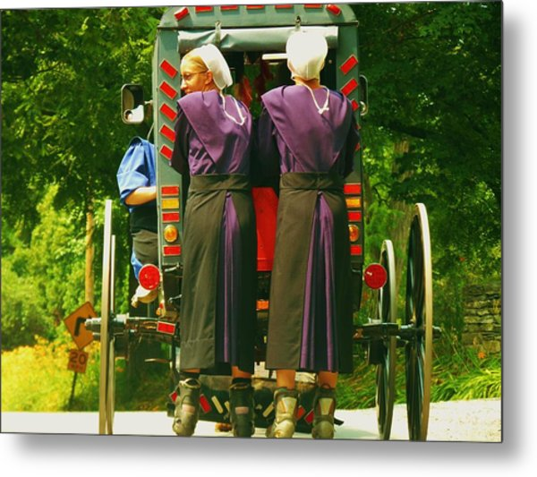 Amish Girls On Roller Blades Metal Print