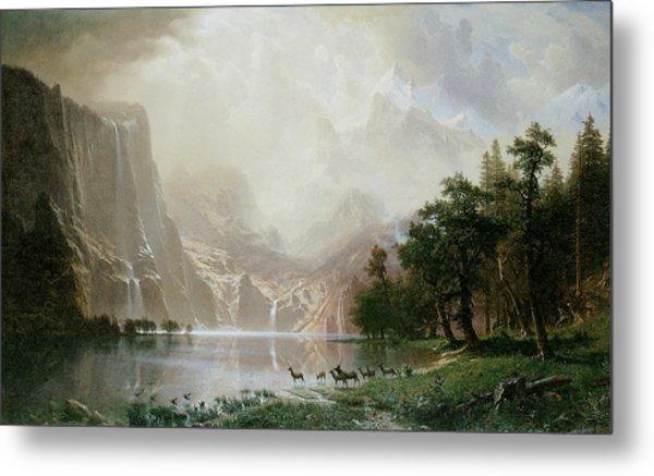 Among The Sierra Nevada Mountains California Metal Print by Albert Bierstadt